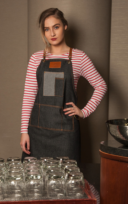 breton stripe top & denim apron