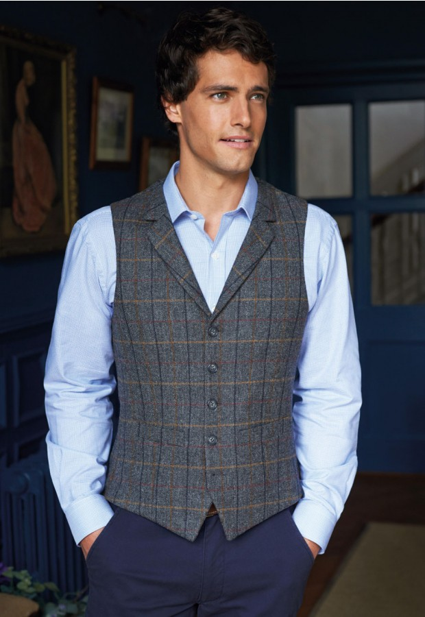 Male Charcoal & Brown Check Waistcoat